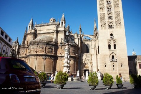 Central place of Seville with view of Cathedral Santa Maria de la Sede